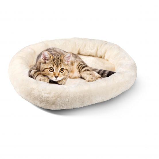 Kuschelbett für Katzen und Hunde naturweiss