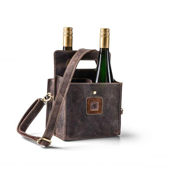 Flaschentasche Wein aus Wildleder