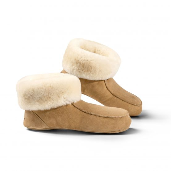 Lambskin Slipper Boots with Leather Soles